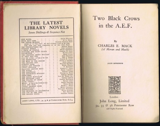 Title page of Charles E. Mack's 'Two Black Crows in the A.E.F.' First published in 1928.