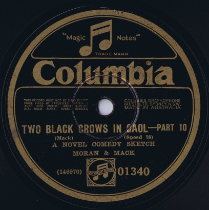 Recorded in New York on 18/9/1928. From the collection of Douglas Paisley.