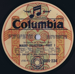 """Record label for 12"""" 78rpm record featuring Gil Dech & His Concert Orchestra performing Maori songs. Recorded in Sydney, Australia on September 2, 1931."""
