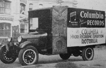 'A photo of the lorry which transported the Columbia recording outfit from Auckland to Rotorua'