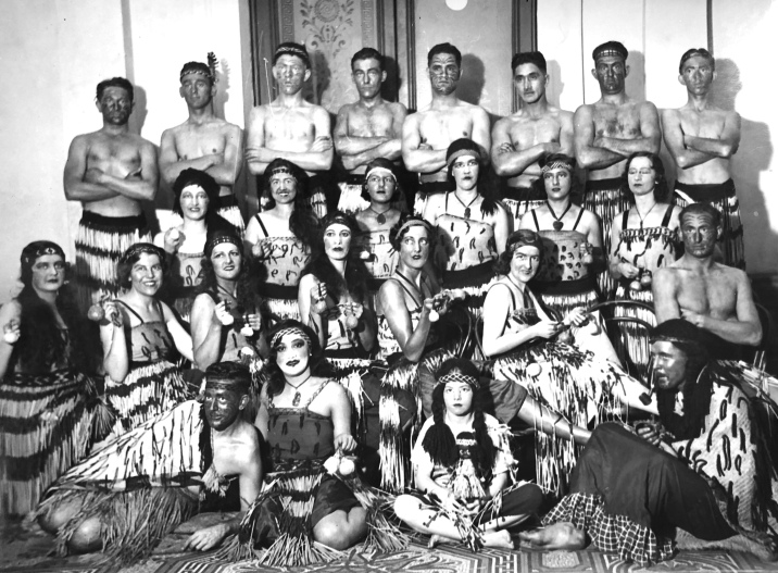 Caucasians dressed as Maoris, Sydney Town Hall, Photo by Sam Hood (1872 - 1953), State Library NSW collection.
