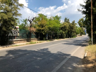 Iraklion Avenue. Κολούμπια/Columbia bus stop visible in the centre.